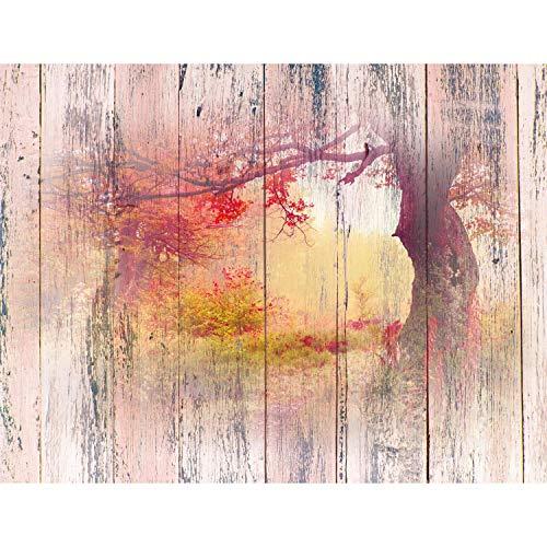 Fototapete Wald Holzoptik 352 x 250 cm Vlies Tapeten Wandtapete XXL Moderne Wanddeko Wohnzimmer Schlafzimmer Büro Flur Rosa Rot 9112011c