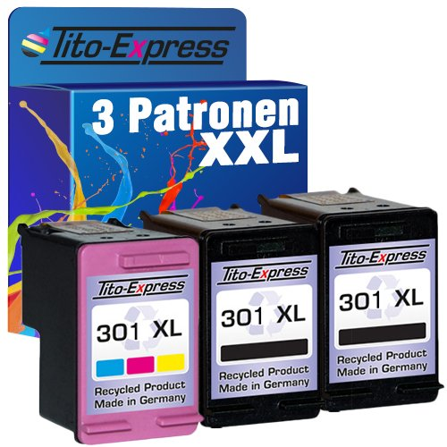 Tito-Express PlatinumSerie Set 3 Patronen Black & Color für HP-301XL Deskjet 1000 1050 1055 1510 2000 2050 2510 2540 2542 2544 3000 3050 3052 3054 3055 3056 3057 3058 3059 3510 | 20ml XXL-Inhalt