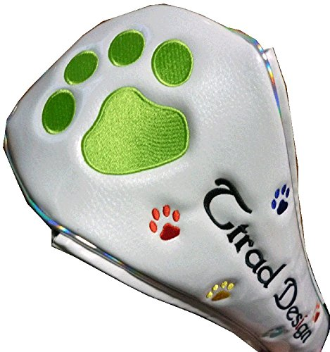 肉球フェアウェイ用 ゴルフヘッドカバー マグネット式 (ホワイト/グリーン)