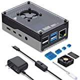 Miuzei Case for Raspberry Pi 4, Raspberry Pi 4b Case with Fan 35mm, with 5V 3A Power Supply, 4 pcs Heatsinks for Raspberry Pi 4 Model B 8gb / 4gb / 2gb - Support PoE Hat