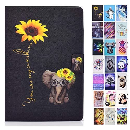 Rose-Otter Handyhülle für Kindle Paperwhite (2012-2020) 6 Zoll Hülle Tablet Leder PU Flip Case Kartenfach Klappbar Schutzhülle Tasche - Elefant Blume