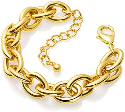 Gold Bracelets for Women Lane Woods 14k Gold Plated Chunky Thick Large Link Chain Bracelet product image
