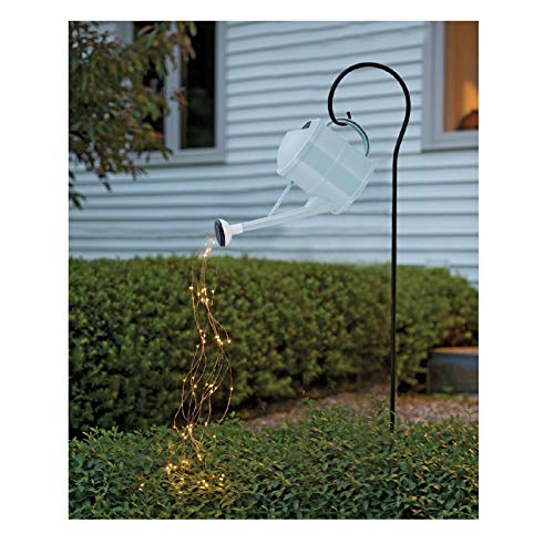 Neubula Star Shower Garden Art Irrigation Pot with Lights Waterfall Shape Twinkle Fairy Light Decorative Garden Stake with Bracket for Patio Yard Walkway Pathway Lawn Decoration Holiday Party Decor