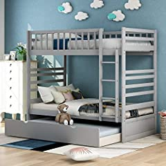 2 Twin Bunk Beds in 1: This twin over twin bunk bed can be configured into two separate twin beds, having the option to allow your bed to grow with your children. Utilize the trundle bed as an underside storage bin for an easy clutter combating solut...