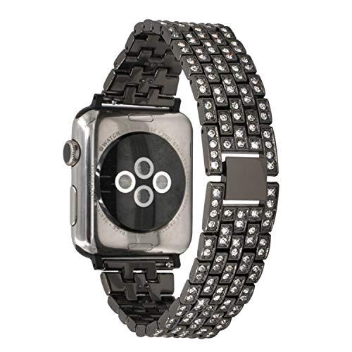 iWatch 4 40mmバンド、TABCaseアダプター付きのステンレス製時計バンドBling交換用ブレスレット38mm/40mm Apple iWatch 5/4/3/2/1のダイヤモンドラインストーンメタルリストバンドストラップ (黒)