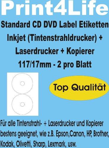 100 CD - DVD labels - etiketten - stickers, zelfklevend; zeer wit; 117/17; standaard kwaliteit