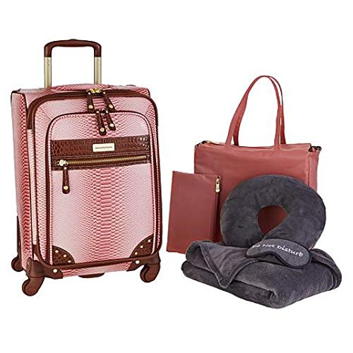 Samantha Brown Croco-Embossed 22' Spinner with Essentials Set - Dusty Rose