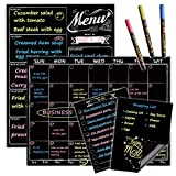 Magnetic Chalkboard Monthly Calendar - Weekly Meal Planning Blackboard Combo Set with Neon Bright Liquid Chalk Markers - Bonus Grocery List and Notepad Blackboard for Refrigerator Included