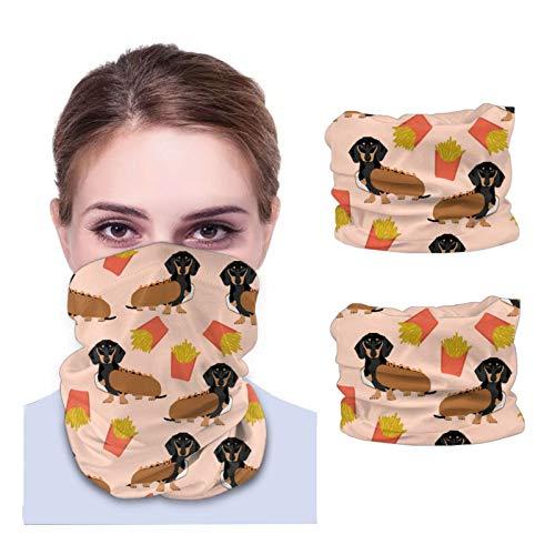 GSNWFG Doxie Winer - Disfraz de perro caliente y papas fritas, bonita variedad de toallas faciales para adultos, transpirables, antipolvo, turbante para montar en el cuello (2 unidades)