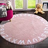 LIVEBOX ABC Kids Play Mat, Alphabet 3ft Round Area Rugs Soft Plush Educational Learning & Game Baby Girls Crawling Mat Non-Slip Tufted Throw Carpet for Nursery Decor Bedroom Best Shower Gift(Pink)