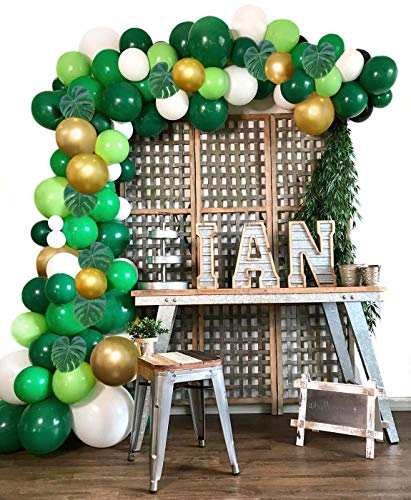 HUIBO Safari Jungle Balloon Garland Arch Kit 120pcs Green and Gold Balloons Palm Leaves 16Ft Long for Kids Boys Baby Shower Birthday Wild Party Theme Decorations