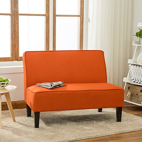 Cushioned Armless Settee Loveseat Linen Sofa Couch Home Casual Living Room Recliner (Orange)