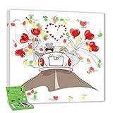 galleryy.net Hochzeitsbaum Fingerabdruck 40x40 INKL Zubehör-Set (Stempelkissen+Stift+Anleitung+Hochzeitsbuch+...) GRATIS - Hochzeitscorso Flitterwochen - Wedding Tree