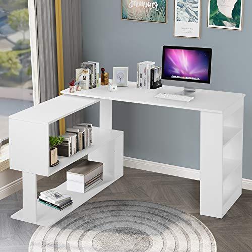 Computertisch L-förmiger Schreibtisch Winkelschreibtisch Eckschreibtisch Arbeitstisch Bürotisch Gaming Tisch Schrank, 360-Grad-Drehung, Offene Regale zur Aufbewahrung, Weiß