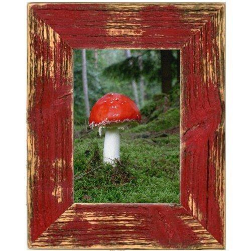 Mein Landhaus Bilderrahmen aus echtem Alt-Holz Stil Vintage, rustikal - handgefertigte Unikate in rot 13X18