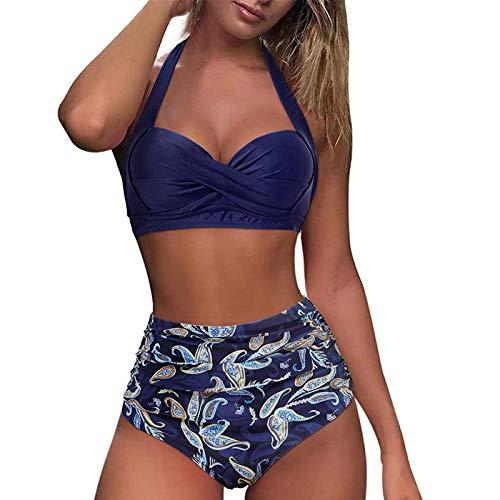 Linkay Kontrastfarben Gradient Split Bikini Set, Push-up Zweiteilige Badeanzug für Damen Mode Hoch Taillierte Halfter Badebekleidung, Schwimmanzug Bikinihose Bademode Tankini (E Dunkelblau, L)