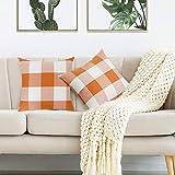 Volcanics Buffalo Check Plaid Throw Pillow Covers Set of 2 Farmhouse Decorative Square Pillow Cover Case Cushion Pillowcase 20x20 Inches for Home Decor Sofa Bedroom Car, Orange and White