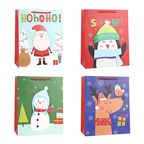 perfecti 4 Piezas Bolsas para Chuches De Navidad Bolsas Regalo Cumpleaños Bolsas De Papel Kraft para Frutos Secos, Caramelos, Chocolate, Piñata