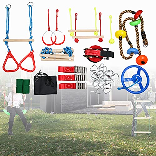 ZPCSAWA Warrior Obstacle Course for Kids 50FT The Most Complete Hanging Monkey Bars kit Line Rings Climbing Rope LadderClimbing Cargo Net for Backyard Outdoors