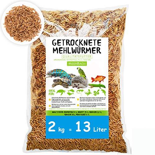 MeerBach Animal Mehlwürmer getrocknet • 2kg (entspricht 13 Litern!) Premium Futter • absolut frei von Zusatzstoffen • der gesunde und natürliche Snack für Fische, Reptilien, Nager und Igel