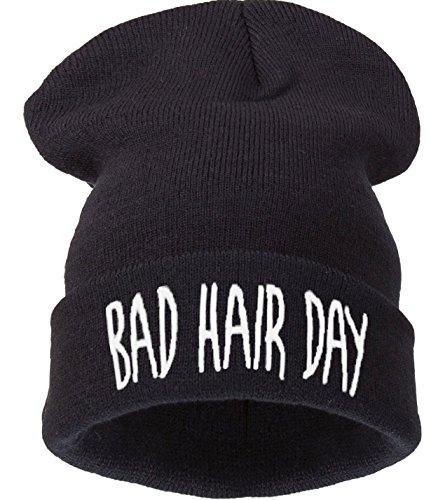 4sold Bad Hair Day Beanie Mütze (schwarz mit weißem Logo) Haube Wintermütze...