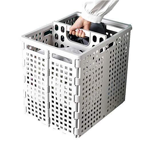 Foldable Plastic Laundry Basket Large Double Compartment Laundry Basket mesh Laundry Basket with Handle Portable and Washable Laundry Basket 1 pack