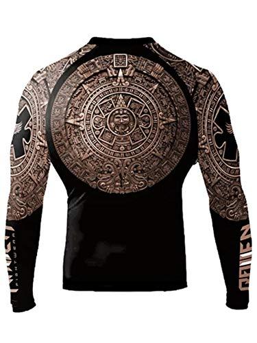 Raven Fightwear Men's Aztec Ranked Rash Guard MMA BJJ Brown Large
