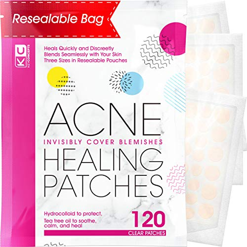 Pimple Patch Acne Treatment (Tea Tree Oil) - 120 Count, Acne-Healing Hydrocolloid Bandages (3 Sizes), Discreet Acne Dots Hydrocolloid Acne Patch, Pimple Patches, Acne Patches for Face & Body Acne