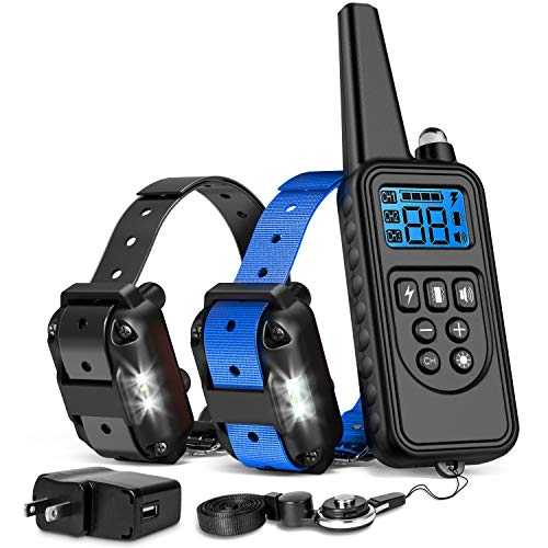 iSPECLE Shock Collar for Dogs, Upgraded Waterproof Dog Training Collar with Remote for Large Medium Dogs Long Range E Collars for Dogs with LED Light Shock Tone Vibration Neck Lanyard/Adapter