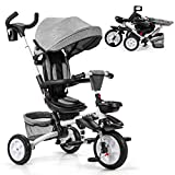 Baby Joy Baby Tricycle, 7-in-1 Kids Folding Steer Stroller w/Rotatable Seat, Adjustable Push Handle & Canopy, Safety Harness, Cup Holder, Storage Bag, Toddler Tricycle Trike for 1-5 Year Old, Gray