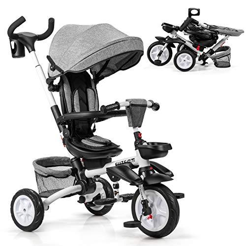 GOPLUS 6-in-1 Kinderdreirad, Dreirad mit 360° Drehsitz, Zusammenklappbarer Kinderwagen, Höhenverstellbare Schubstange, mit Sicherheitsgurt, Verstellbare Rückenlehne & Sitzfläche (Grau)