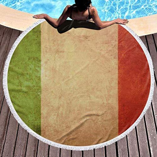 Vintage italienische Flagge Retro Italien Flagge runde Strand werfen wasserabsorbierende Handtuchdecke große Roundie Tischdecke Yoga Picknick Matte 59 '