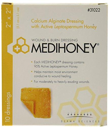 Derma Sciences 31022 Medihoney apósito de alginato de calcio, 2.0in de ancho x 2.0in de largo (paquete de 10)