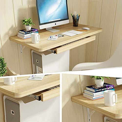 Wall Table Mesa De Pared,Escritorio Flotante para Computadora Portátil,Escritorio Multifunción,con Estante Flotante + Bandeja del Teclado,3 Colores