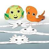 """Kronen zum Ausmalen """"Meerestiere"""" für Kinder zum Basteln und Dekorieren – Kreatives Sommer-Bastelset für Kinder (6 Stück)"""