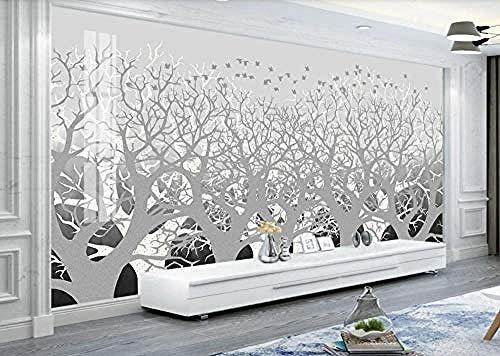 Behang 3D Ink Wood Bird nieuwe Chinese stijl modern gepersonaliseerd fotobehang wandschilderij - 250 cm x 175 cm