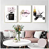 QIAOB Leinwandbilder Pink Lips Print Parfüm Poster