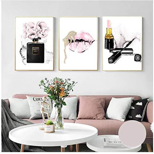 QIAOB Leinwandbilder Pink Lips Print Parfüm Poster Lippenstift Make-up Poster und Drucke Blumen Wandbilder Schlafzimmer Dekor 11,8