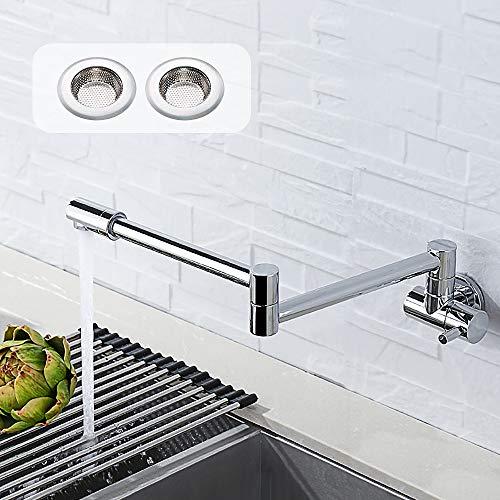Grifo de la cocina, pulido latón, de pared grifo plegable grifo de llenador de pote juntas dobles Boquilla giratoria de 360° grifo de frio(el colador del fregadero 2pcs como regalo)