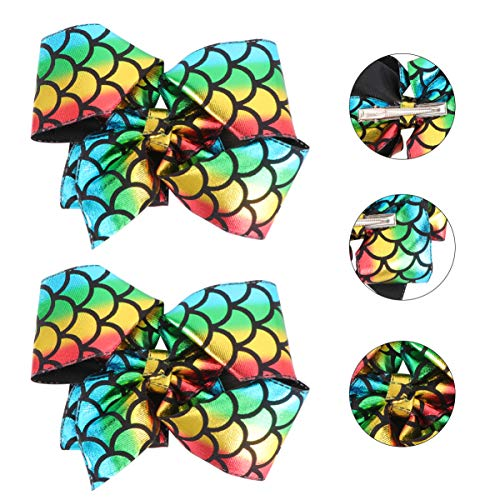 Beaupretty 2pcs Large Bow Hairpins Sparkle Fish Scale Hair Bows Clips Mermaid Scales Hair Bow for Girls Toddlers Kids (Colorful)