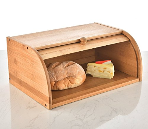 "Family Home Bamboo Roll Top Bread Bin Bread Box 15.7"" X 10.7"" X 6.7"""