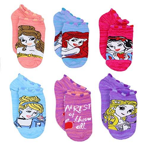 Disney Princess Little Girls 6 pack Socks (4-6 Toddler (Shoe: 7-10), Princess Sparkle Multicolor)