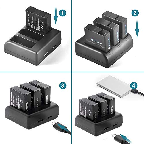 Artman Hero 7/6/5 Battery 1480mAh 3-Pack and 3-Channel LED USB Hero 7 Charger Compatible with Gopro Hero 7 Black,Hero 6 Black,Hero 5 Black,Hero 2018(Not for Silver or White)