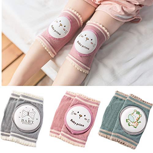 G-Tree 3 pares de bebé niña arrastrándose rodilleras - Niño rodilleras transpirable calentador de la pierna del niño protector de la rodilla Caminar regalo de ratón para el bebé