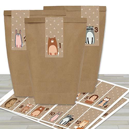 DIY Adventskalender zum Befüllen - mit 24 braunen Papiertüten und 24 Waldtier- Aufklebern - zum Selbermachen und Basteln - Mini Set Nr 34 - Weihnachten 2019 für Kinder