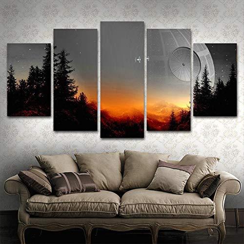 TRDT Leinwanddruck 5 Stücke Star Wars Baum Todesstern Bild Modulare Film Poster Für Wohnzimmer Wohnkultur Wand Malerei,B,20X35X220X45X220X55X1