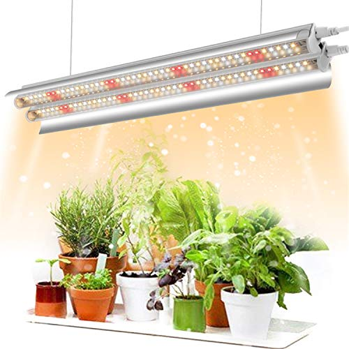 Garpsen T5 Pflanzenlampe LED, 2FT 96 LEDs Grow Lampe, Verbesserte Vollspektrum, Doppelrohr mit Reflektor, Doppelschalter Design, Pflanzenlicht für Zimmerpflanzen Gartenarbeit(3000K/5000K/660nm)