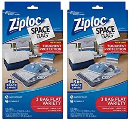 Ziploc Space Bag 3ct Combo Pack (2 Medium Flat, 2 Large Flat, 2 XL Flat)