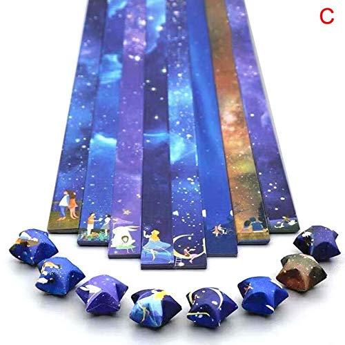 Papel Plegable Estrella de la Suerte Cinta de Papel Cielo Universo patrón Origami artesanía Hecha a Mano Tarjeta para el hogar decoración de Regalo - Amarillo Claro