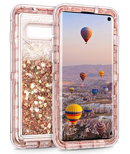 Coolden Case for Galaxy S10 Cases Protective Glitter Case for Women Girls Cute Bling Sparkle 3D Quicksand Heavy Duty Cover Hard Shell Shockproof TPU Case for 6.1 Inches Samsung Galaxy S10, Rose Gold